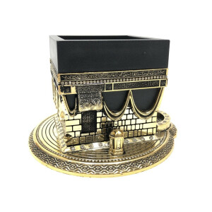 Modell der Kaaba mit Fundament in Gold, 11 cm
